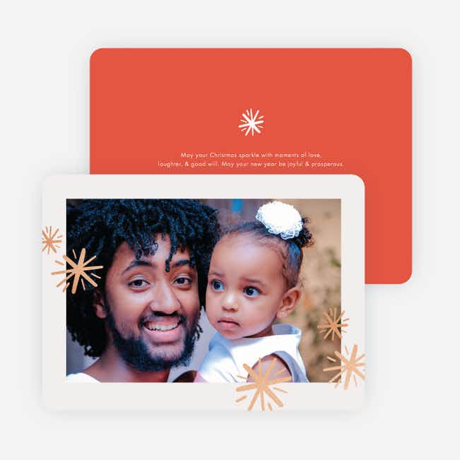 Foil Sparkle Border Holiday Cards - Orange