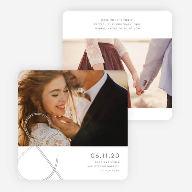 Foil You & Me Wedding Save the Date Cards - Gray