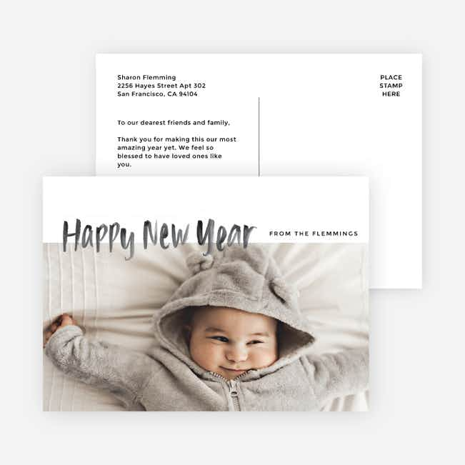 Photo First New Year Cards and Invitations - Black