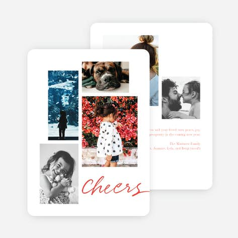 festive script new year cards and invitations red