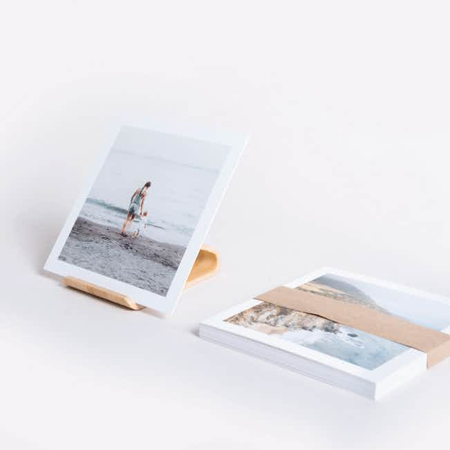 Photo Prints with Bamboo Stand - White