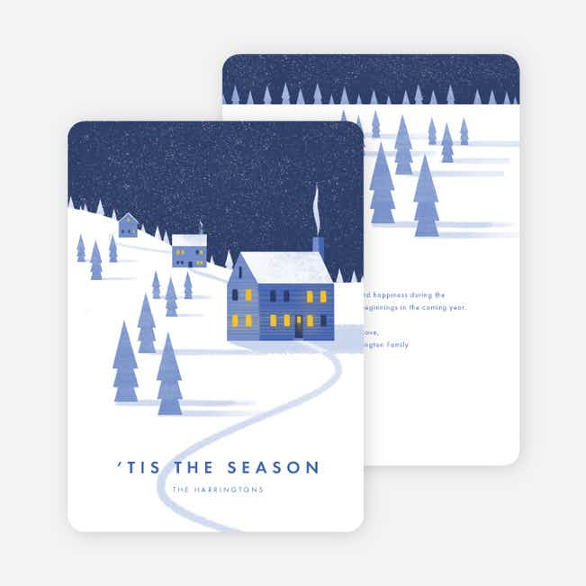 Winter House Holiday Cards - Blue