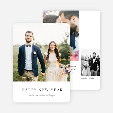 married bright new year cards and invitations black