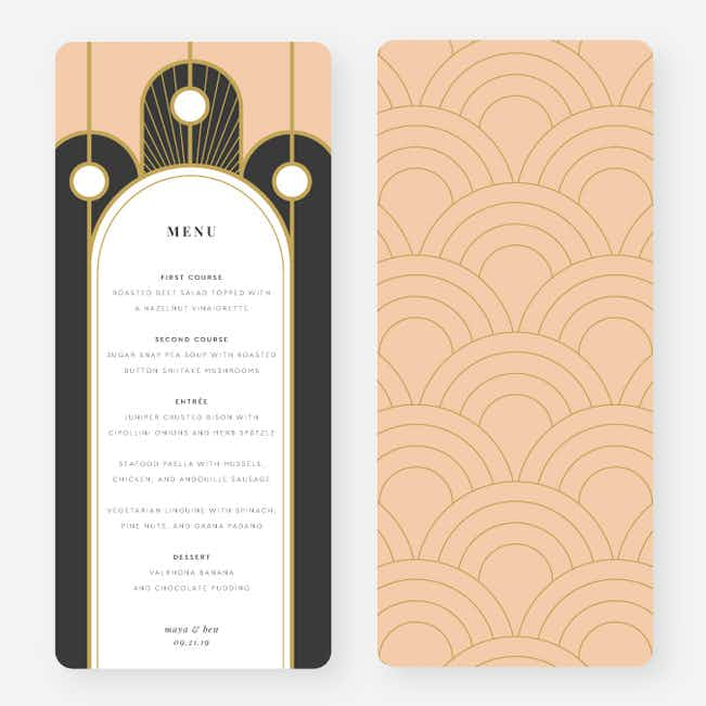 Deco Arches Wedding Menus - Pink