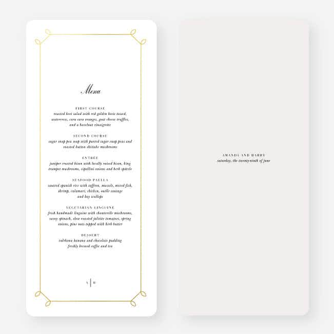 Foil Elegant Scroll Wedding Menus - Yellow