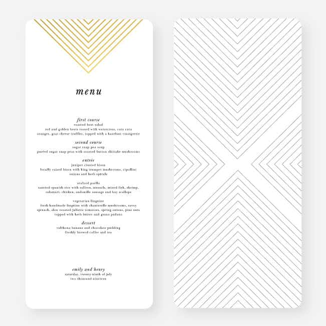 Foil Mirrored Angles Wedding Menus - Yellow