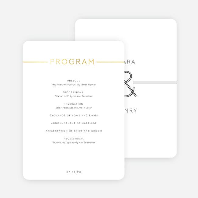 Foil You Me Wedding Programs