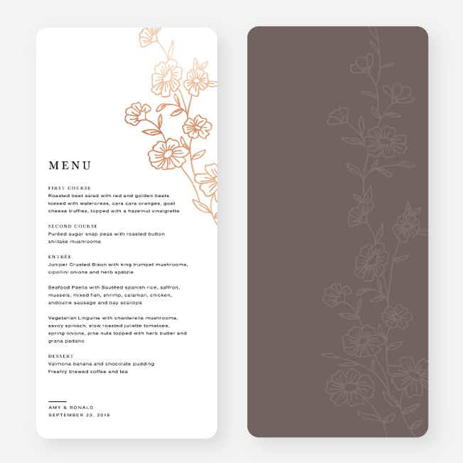 Elegant Roses Wedding Menus - Brown