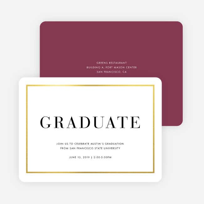 Foil Traditions Graduation Party Invitations - Red