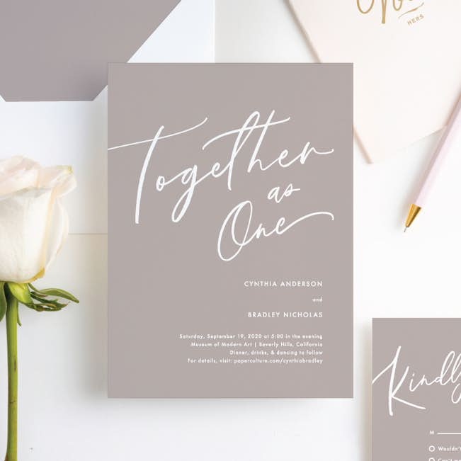 Relaxed Script Wedding Invitations | Paper Culture